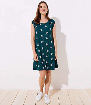 LOFT Petite Garden Cap Sleeve Swing Dress