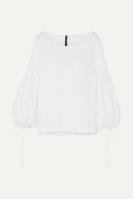 Mother of Pearl Stretch-organic Cotton Blouse - White