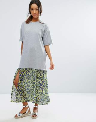Asos Midi T-Shirt Dress With Leopard Print Woven Hem