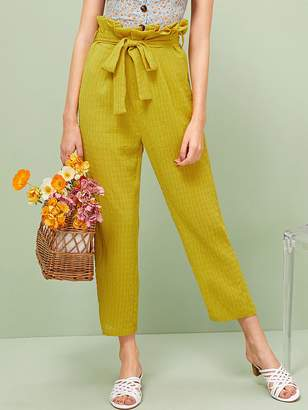 9fb371e515 Shein Paperbag Waist Belted Textured Pants