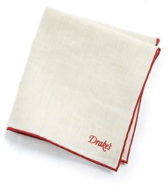 Drakes Drake's Tipped linen Cashmere Pocket Square in Red