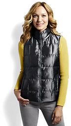 Lands' End Women's Tall Shimmer Down Vest-Deep Slate $69 thestylecure.com