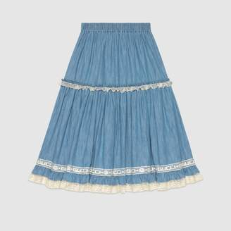 Gucci Denim skirt with lace detail