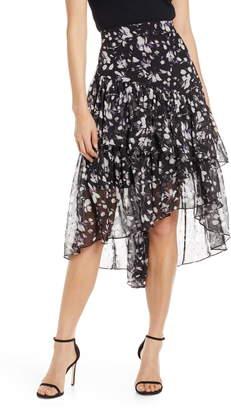 Eliza J Ruffle Asymmetrical Chiffon Skirt