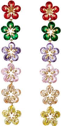 Nakamol Linear Crystal Flower Earrings