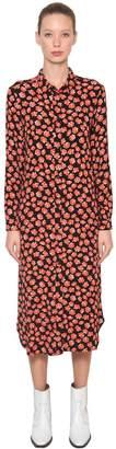 Ganni Lindale Printed Crepe Midi Shirt Dress
