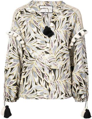Alexis foliage print tassel blouse