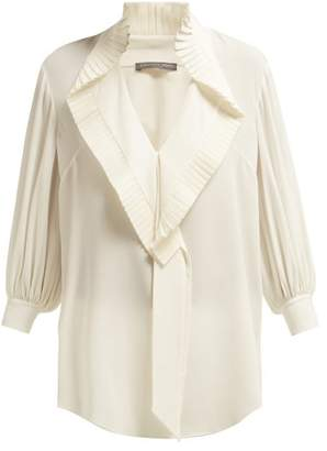 Alexander McQueen Pleated Collar Silk Georgette Blouse - Womens - Ivory