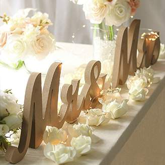Haperlare Modern Vintage Style Mr and Mrs Sign Mr & Mrs Wooden Letters Rustic Wedding Signs for Wedding Table