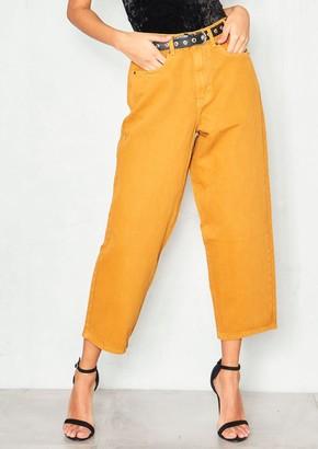 b0b324687a0 Missy Empire Lynne Mustard Denim Cropped Mom Jeans