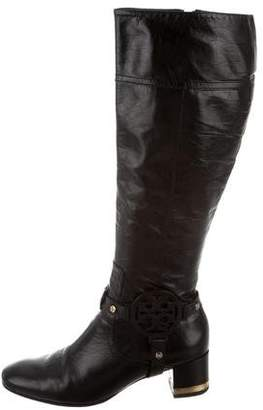 Tory Burch Round-Toe Leather Boots