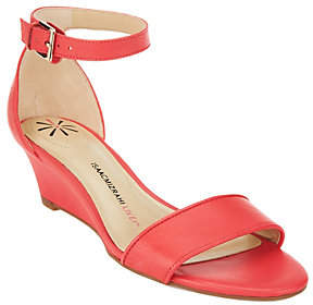Isaac Mizrahi Live! Ankle Strap Low WedgeLeather Sandals