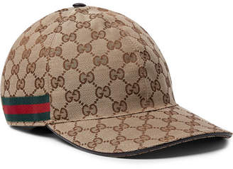 Gucci Webbing-Trimmed Monogrammed Canvas Baseball Cap - Men - Beige
