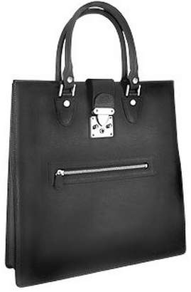L.a.p.a. Front Zip Calf Leather Large Tote Handbag