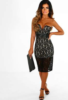 beef41457713c Pink Boutique Slay The Dancefloor Black Lace Studded Strapless Midi Dress