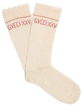 Gucci Scallop Edged Logo Knit Socks - Womens - White