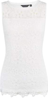 Dorothy Perkins Womens Ivory Floral Lace Shell Top