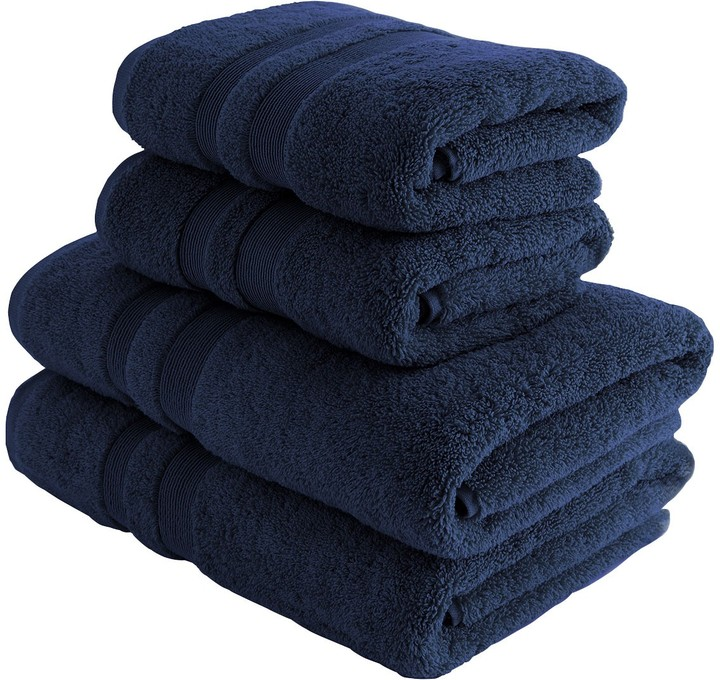 Spa Cotton Ink blue double border set of 4 towels