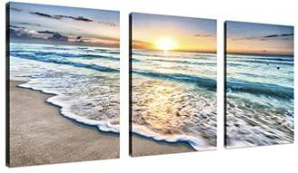 QICAI 3 Panel Canvas Wall Art for Home Decor Blue Sea Sunset White Beach Painting The Picture Print On Canvas Seascape the Pictures For Home Decor Decoration