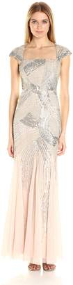 Adrianna Papell Women's Cap Sleeve Fully Beaded Gown