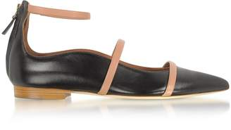 Malone Souliers Robyn Flat Black and Nude Nappa Leather Ballerinas