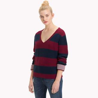Tommy Hilfiger Rugby Stripe V-Neck Sweater