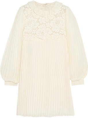 Philosophy di Lorenzo Serafini Lace-paneled Pleated Chiffon Mini Dress - Cream