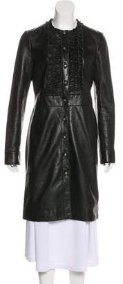 Tory Burch Leather Knee-Length Coat