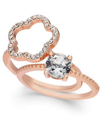 Charter Club Rose Gold-Tone 2-Pc. Set Crystal Ring