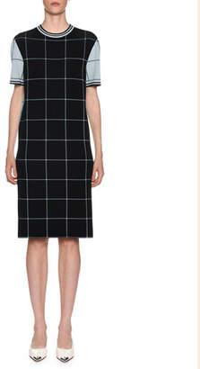Marni Windowpane-Jacquard Short-Sleeve Shift Dress