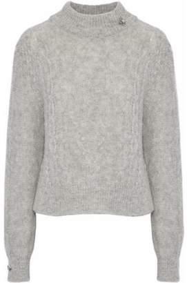 Joie Garlan Appliquéd Cable-Knit Alpaca-Blend Sweater