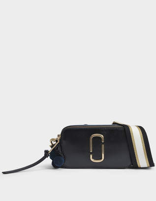 Marc Jacobs Beads and Poms Snapshot Camera Bag in Black Multi Split Cow Leather