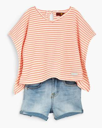 7 For All Mankind Girl's 2T-4T Drapey Top & Short in Seashell Pink
