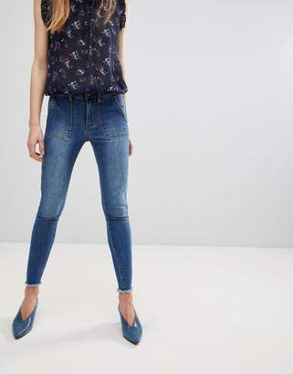 First & I Frayed Hem Skinny Jeans