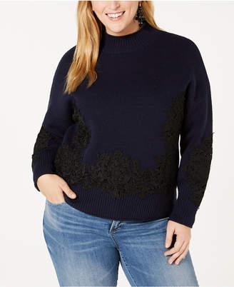 Belldini Black Label Plus Size Lace-Applique Sweater