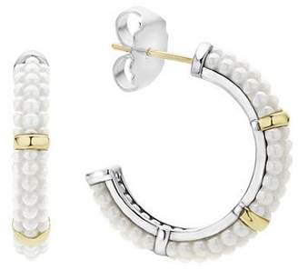 Lagos 18K Gold and Sterling Silver White Caviar Hoop Earrings