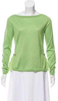 Valentino Lace-Accented Rib-Knit Sweater w/ Tags