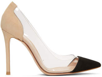 Gianvito Rossi Black and Beige Suede Plexi Heels