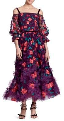 Marchesa Off-The-Shoulder Embroidered Floral Tea Dress