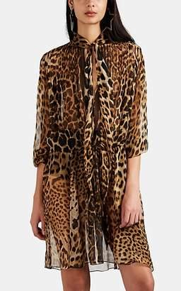 Saint Laurent Women's Leopard-Print Silk Chiffon Dress - Black
