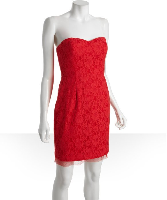 BCBGMAXAZRIA lipstick red cotton and lace strapless sweetheart 'Roselle' bustier dress