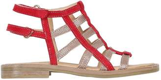 Momino Suede & Metallic Leather Cage Sandals