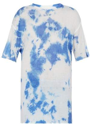 The Elder Statesman Tie Dyed Cashmere And Silk Blend T Shirt - Mens - Blue