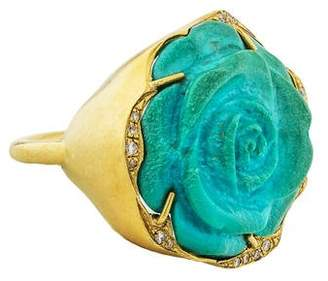 Irene Neuwirth 18K Turquoise Flower & Diamond Ring