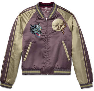 Gucci Reversible Appliqued Satin-Jacquard Bomber Jacket - Lavender