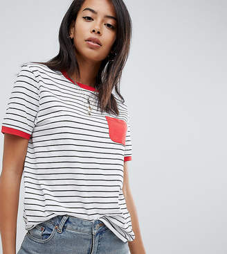 Asos Tall DESIGN Tall stripe t-shirt with contrast pocket and contrast binding