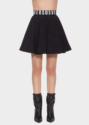 Versace Versus Logo Band Flared Mini Skirt