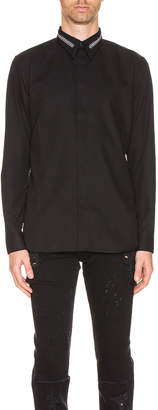 Givenchy Branded Collar Shirt in Black | FWRD