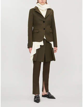 Sacai Knit-underlay wool and nylon-blend coat