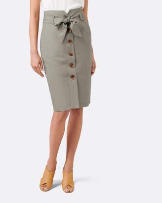 Forever New Elsa Linen Blend Pencil Skirt